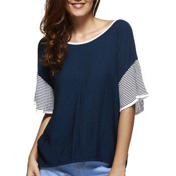 Buy Casual Flare Sleeve Loose-Fitting Patchwork Tee Women COLORMIX