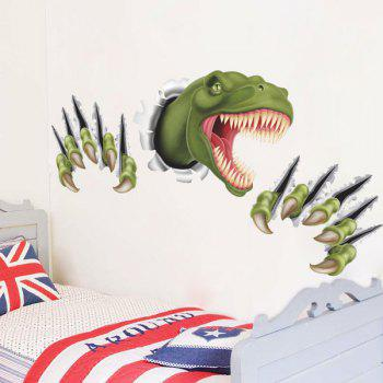 Active Removable 3D Through The Wall Dinosaur Wall Art Sticker - GREEN