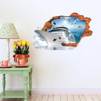 Active Removable 3D Steamship Sea Wall Art Sticker - COLORMIX