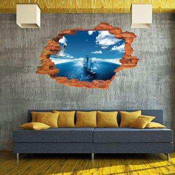 Active Removable 3D Sailing Ship Blue Sky Sea Wall Art Sticker - COLORMIX