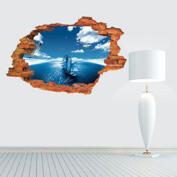 Active Removable 3D Sailing Ship Blue Sky Sea Wall Art Sticker
