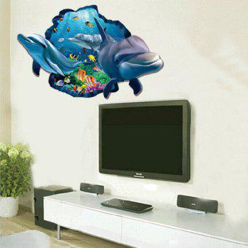Active Removable 3D Cartoon Dolphin Ocean Wall Art Sticker - COLORMIX