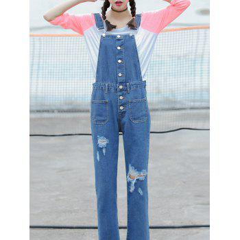Ripped Ninth Denim Pinafore Pants