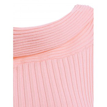 Stylish Women's Solid Color Off the shoulder Asymmetric Knitwear - LIGHT PINK ONE SIZE(FIT SIZE XS TO M)