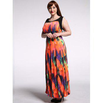 Stylish Scoop Neck Sleeveless Colorful Maxi Dress For Women - ORANGEPINK 7XL
