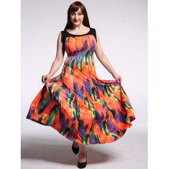 Stylish Scoop Neck Sleeveless Colorful Maxi Dress For Women