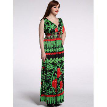 Fashionable Plunging Neck Sleeveless Back-V Floral Dress For Women - GREEN 7XL
