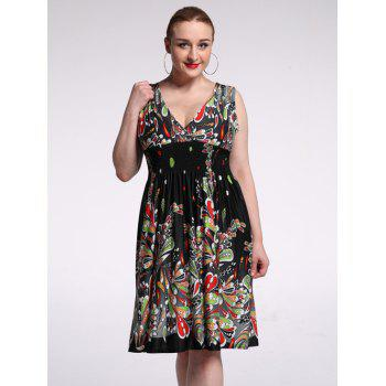 Plunging Neck High Waist Floral Cocktail Dress