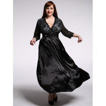 Plus Size Lace Panel Maxi Formal Dress with Sleeves
