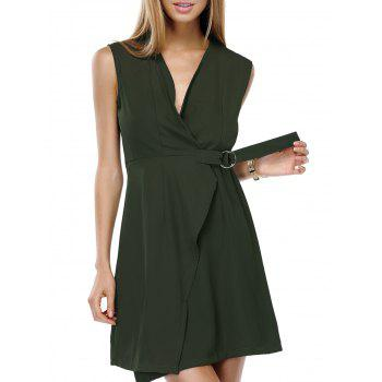 Stylish Women's V-Neck Solid Color Wrap Dress
