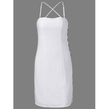 Stylish Spaghetti Straps Fastener White Dress For Women