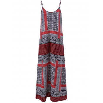 Long Print Slip Boho Dress