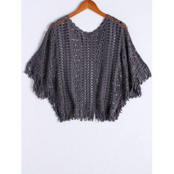 Stylish Women's Round Neck Batwing Sleeves Crochet Top