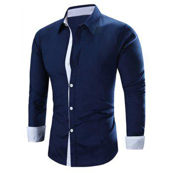 Men's Solid Color Turn-Down Collar Long Sleeve Shirt
