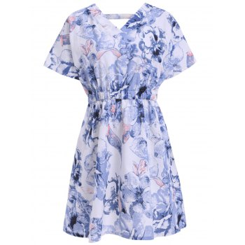 Trendy Plus Size V Neck Floral Print Dress For Women