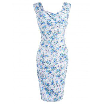Retro Style Tiny Floral Print Bodycon Dress