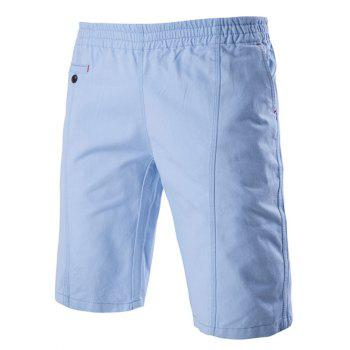 Solid Color Stylish Elastic Waist Straight Leg Men's Shorts