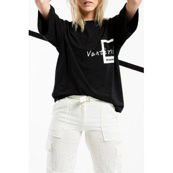 Round Neck Letter Print Tee