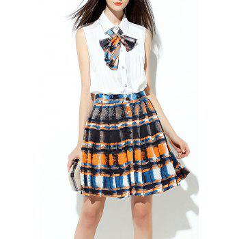 Mini Pleated Skirt with Bow Tie Blouse