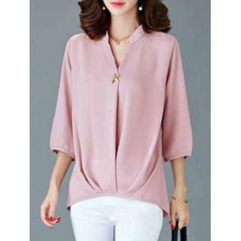 Elegant 3/4 Sleeve V-Neck Women's Loose Blouse - PINK PINK
