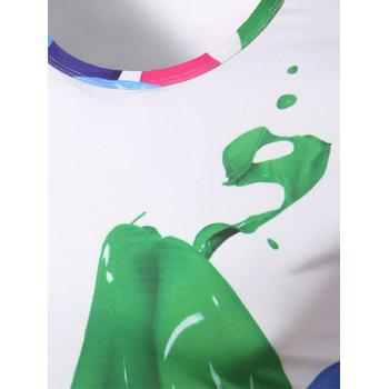 Collier Fashion Round T-Shirt Impression couleur Men 's - multicolore M