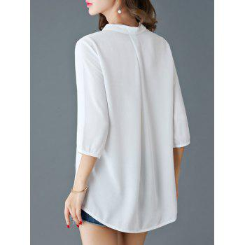 Elegant 3/4 Sleeve V-Neck Women's Loose Blouse - WHITE 3XL