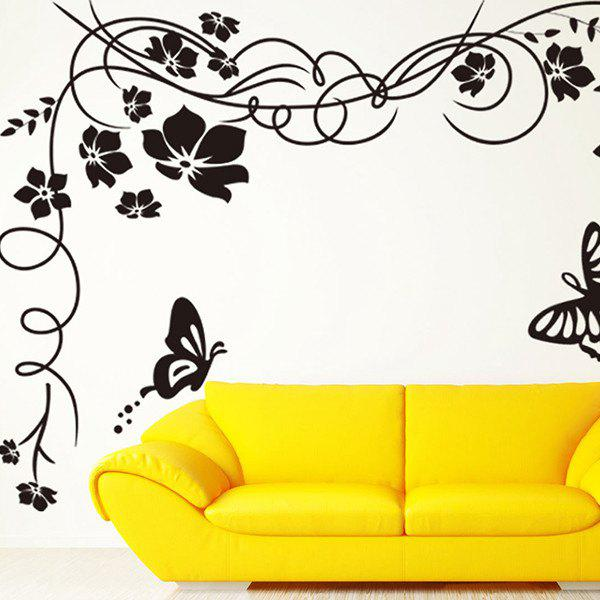High Quality Black Flower Rattan Butterfly Wall Art Sticker