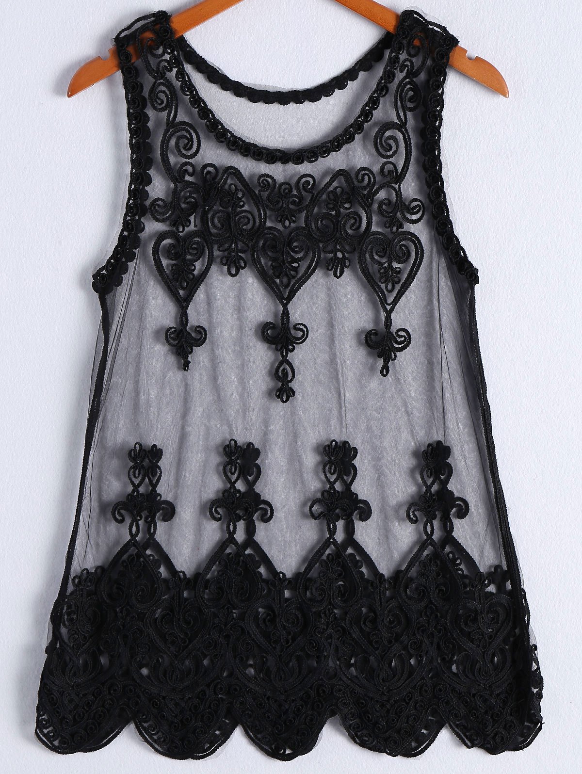 Chic Embroidery Sleeveless Dress For Women - BLACK ONE SIZE(FIT SIZE XS TO M)