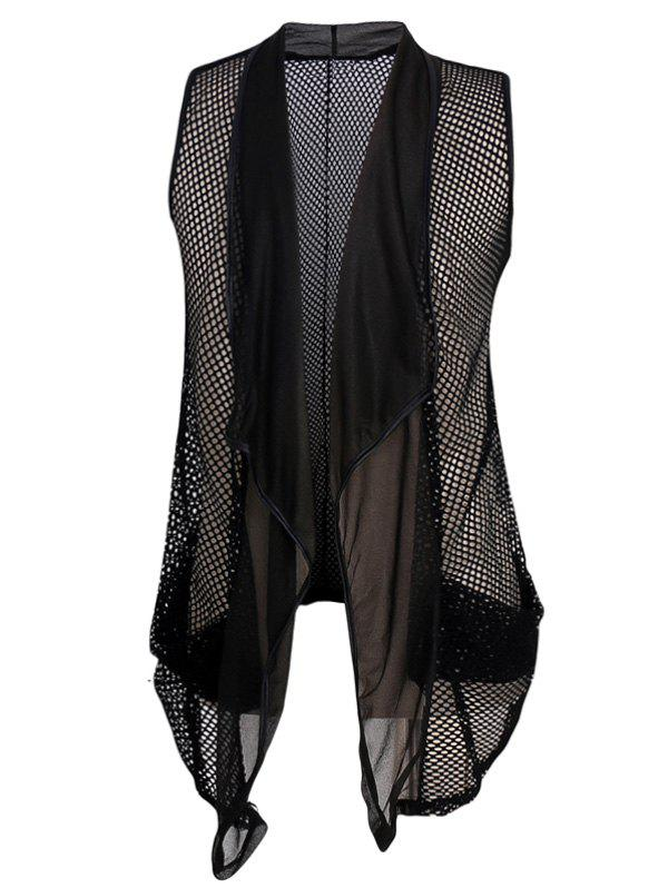Men's Casual Mesh See-through Waistcoat - BLACK L
