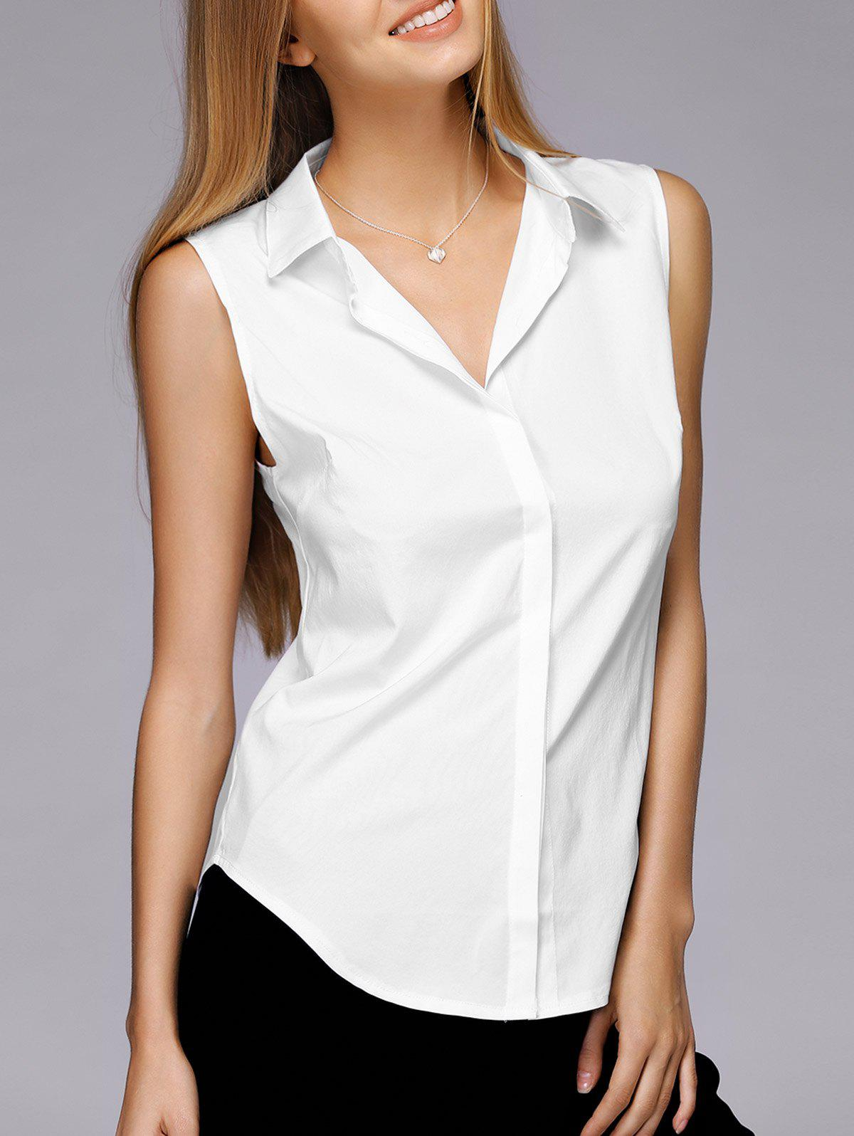Simple Design Shirt Collar Sleeveless Solid Color Shirt For Women - WHITE XL