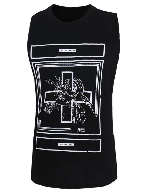 Men's Fashion Letters Printed Solid Color Tank Top - BLACK 2XL