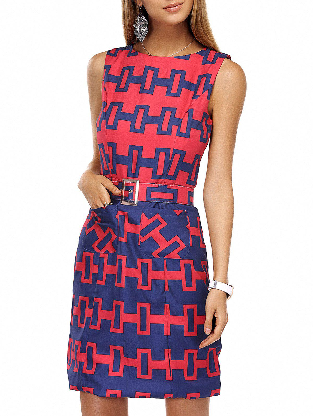 Stylish Round Neck  Geometric Belted Dress For Women - RED XL