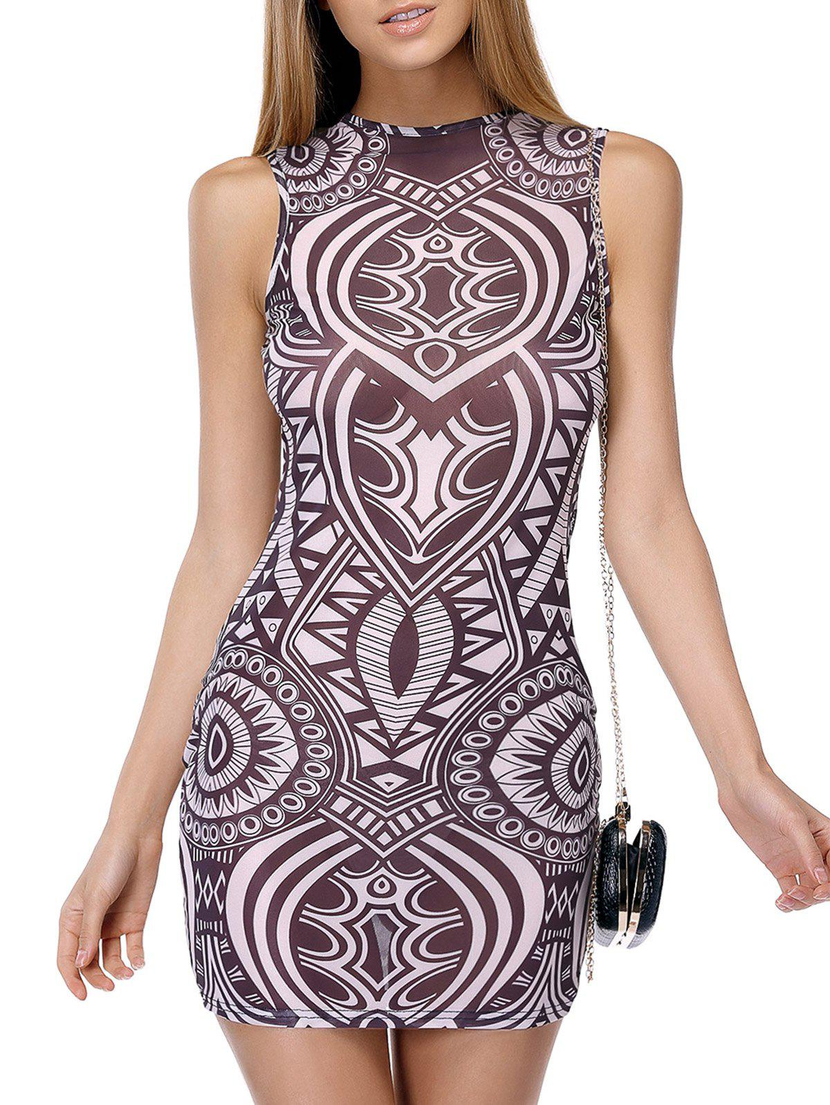 Bodycon Printed See-Through Dress - TEA COLORED XL