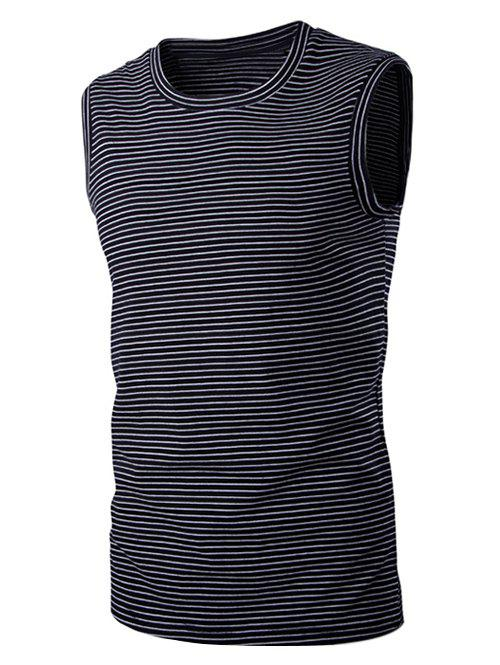 Striped Round Neck Men's Sleeveless T-Shirt - BLACK XL