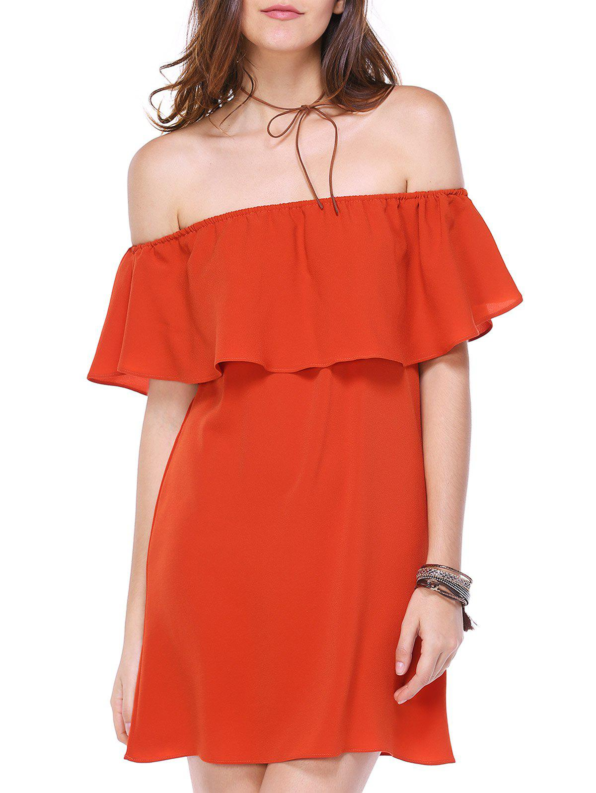 Off The Shoulder Flounce Alluring Women's Chiffon Dress - JACINTH L