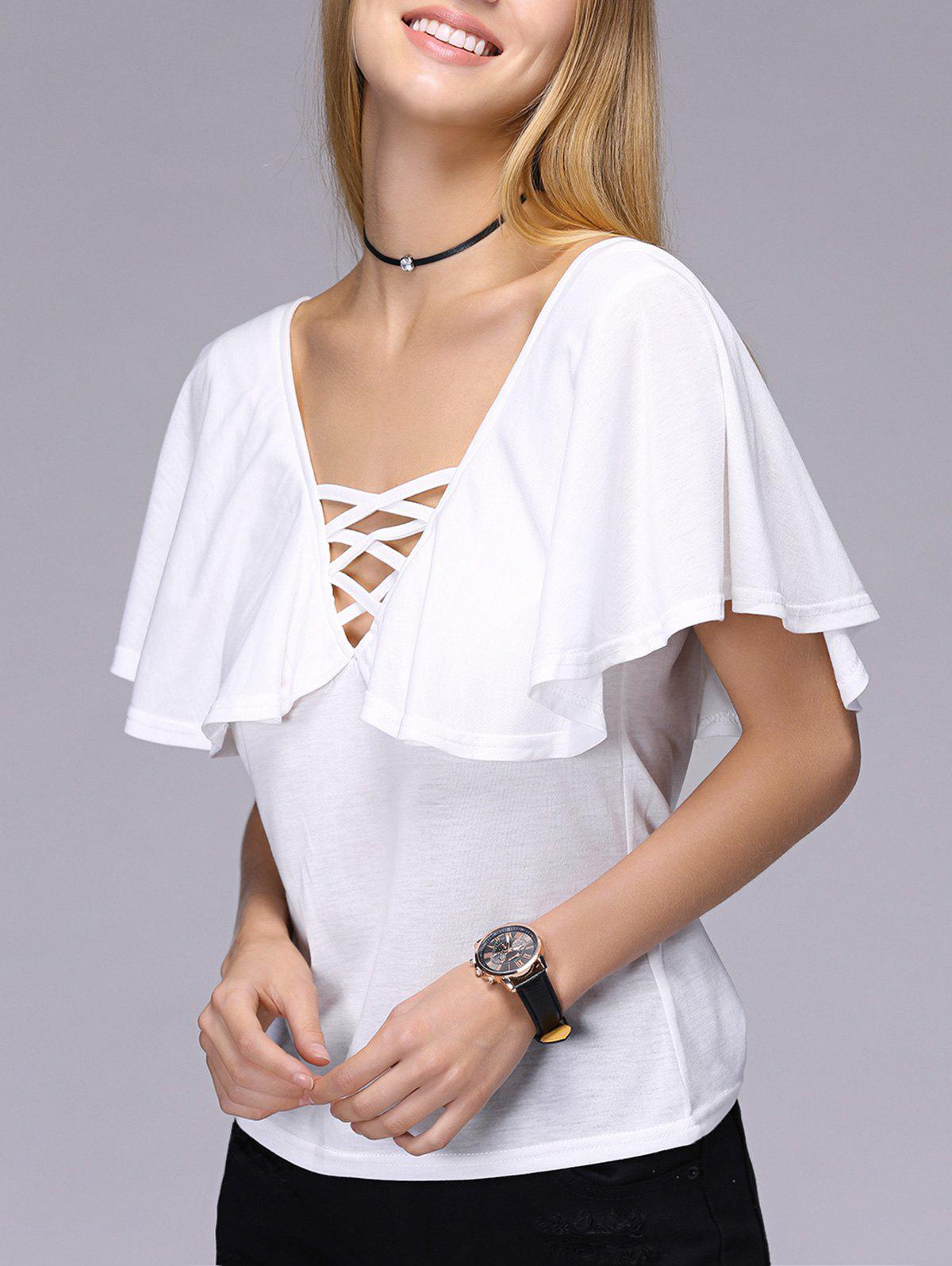 Stylish Short Sleeve Hollow Out Backless T-Shirt For Women - WHITE L
