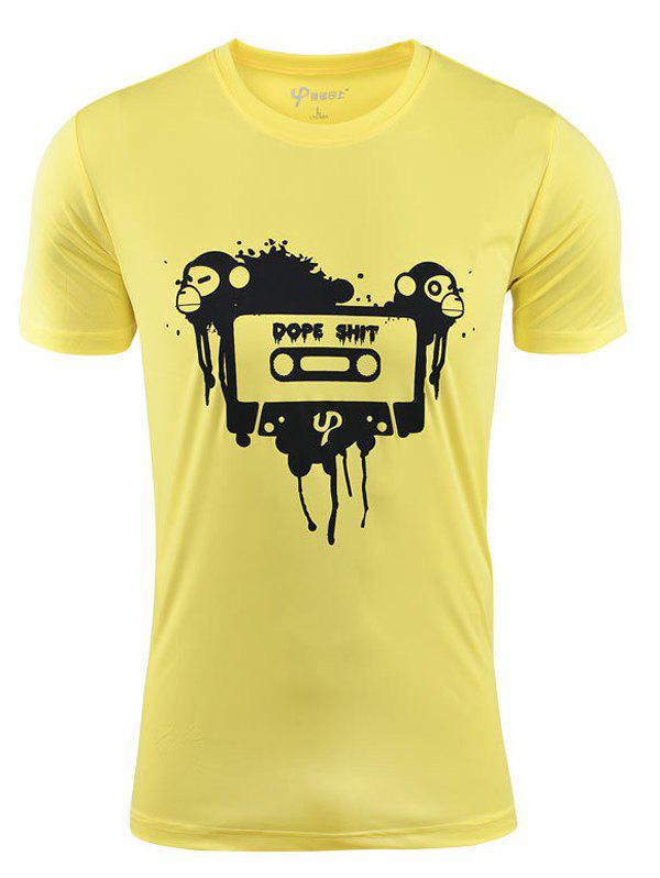 Men's Casual Monkey Printed Short Sleeves Summer T-Shirt - YELLOW XL