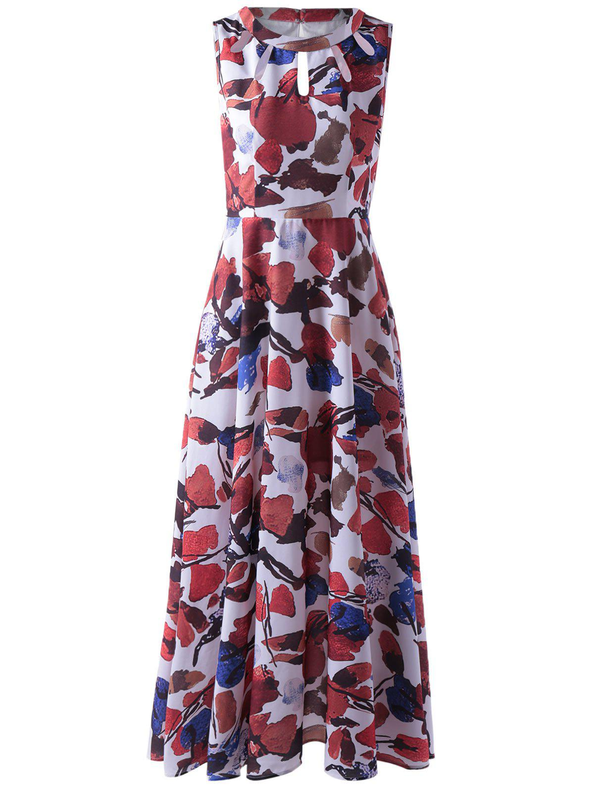 Fashionable Women's Sleeveless Abstract Print Cut Out Pleated Maxi Dress - COLORMIX S