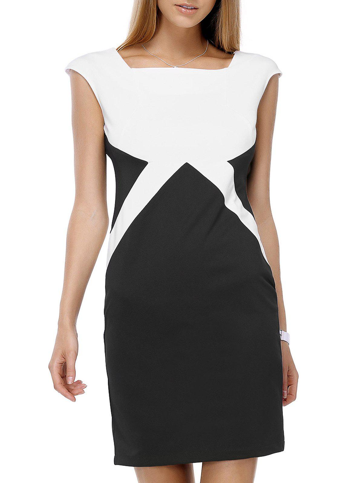 Stylish Women's Square Neck Color Block Dress