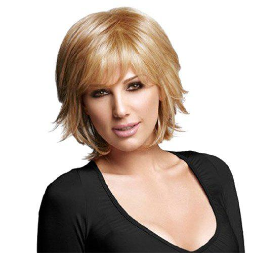 Shaggy Natural Straight Blonde Mixed Capless Vogue Short Layered Cut Wig For Women
