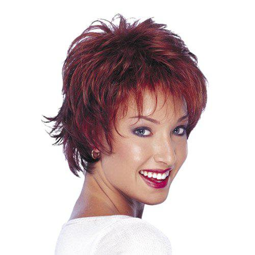 Fluffy Short Layered Cut Straight Synthetic Trendy Wine Red Women's Capless Wig
