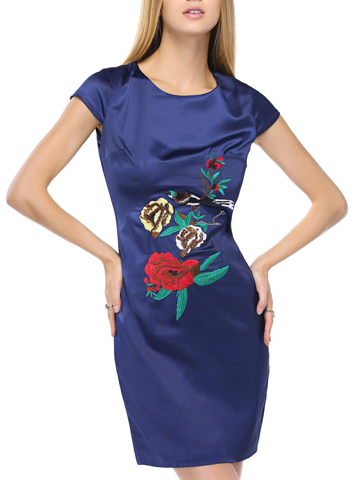 Floral Embroidery Smooth Mini Dress - XL BLUE