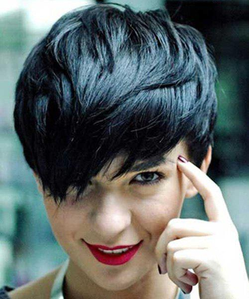 Personality Women's Jet Black Short Shaggy Side Bang Human Hair Wig - JET BLACK