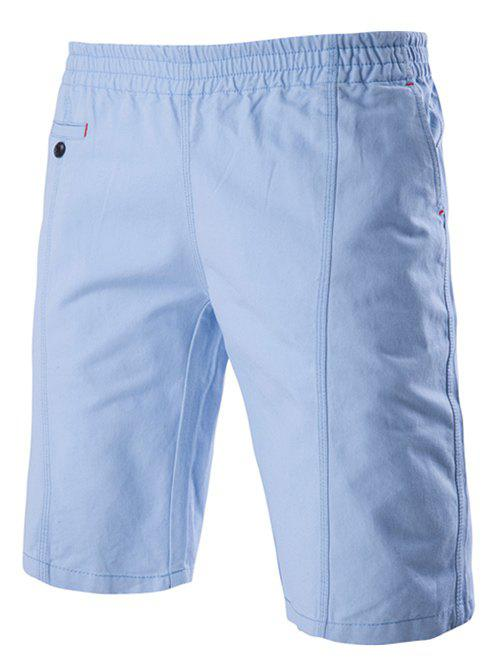 Solid Color Stylish Elastic Waist Straight Leg Men's Shorts - LIGHT BLUE 2XL