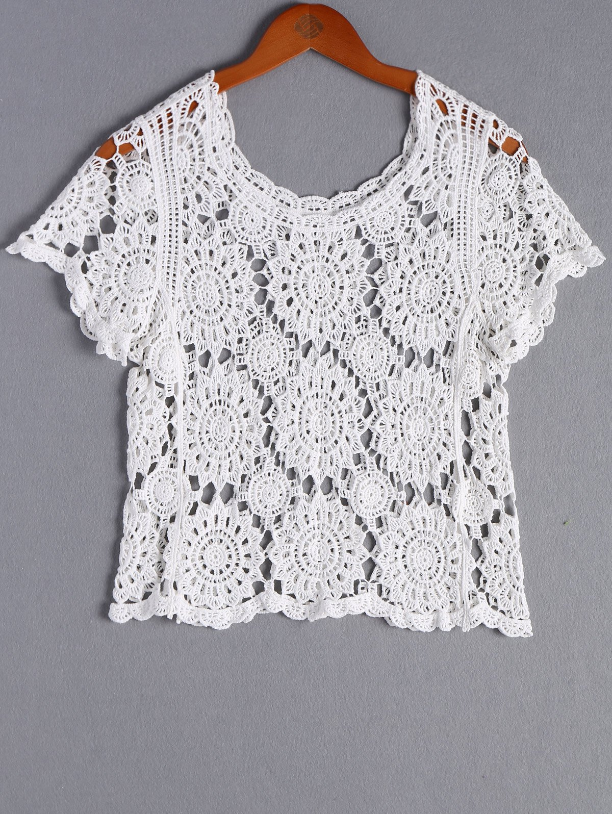 Stylish Women's Round Neck Crochet Top - WHITE ONE SIZE(FIT SIZE XS TO M)