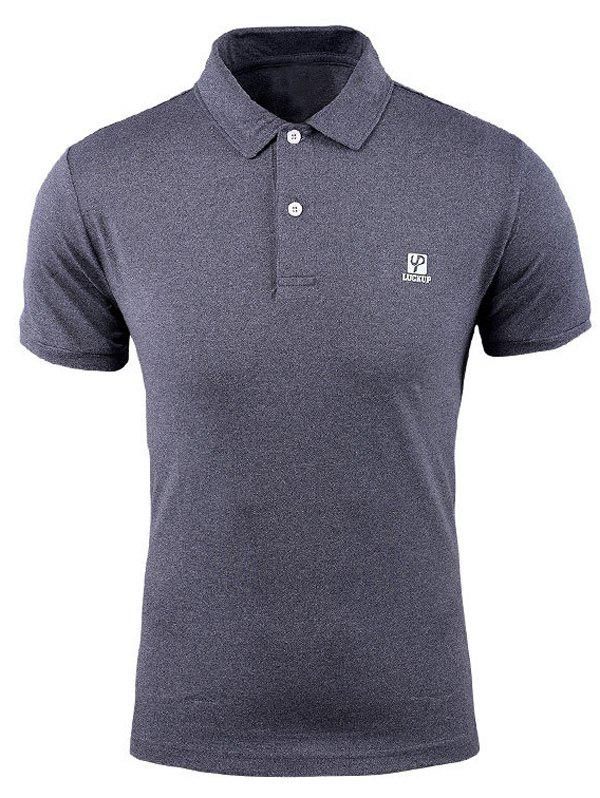 Men's Casual Polo Short Sleeves Solid Color T-Shirt - GRAY L