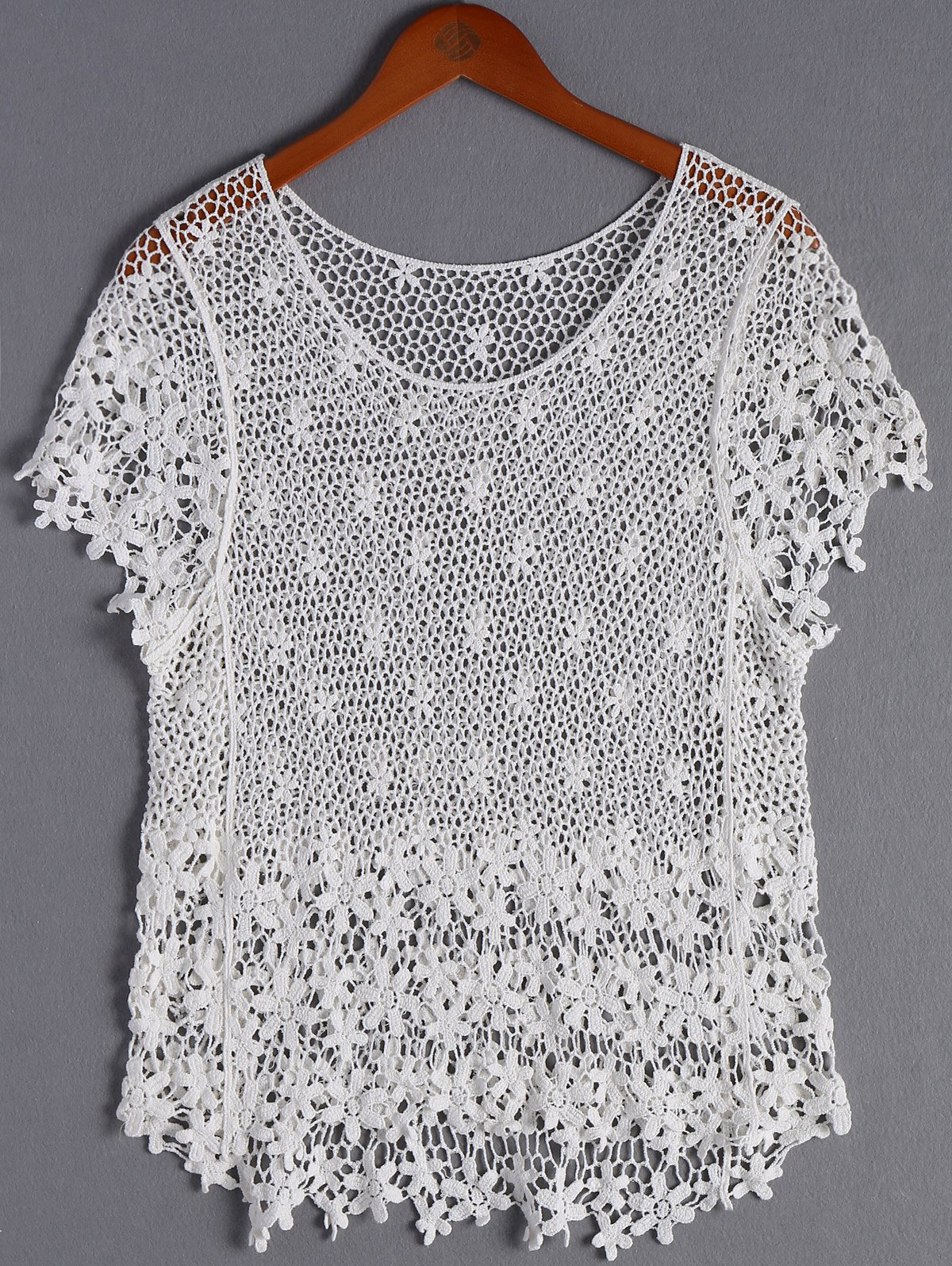 Stylish Women's Round Neck Lace Crochet Top - WHITE ONE SIZE(FIT SIZE XS TO M)