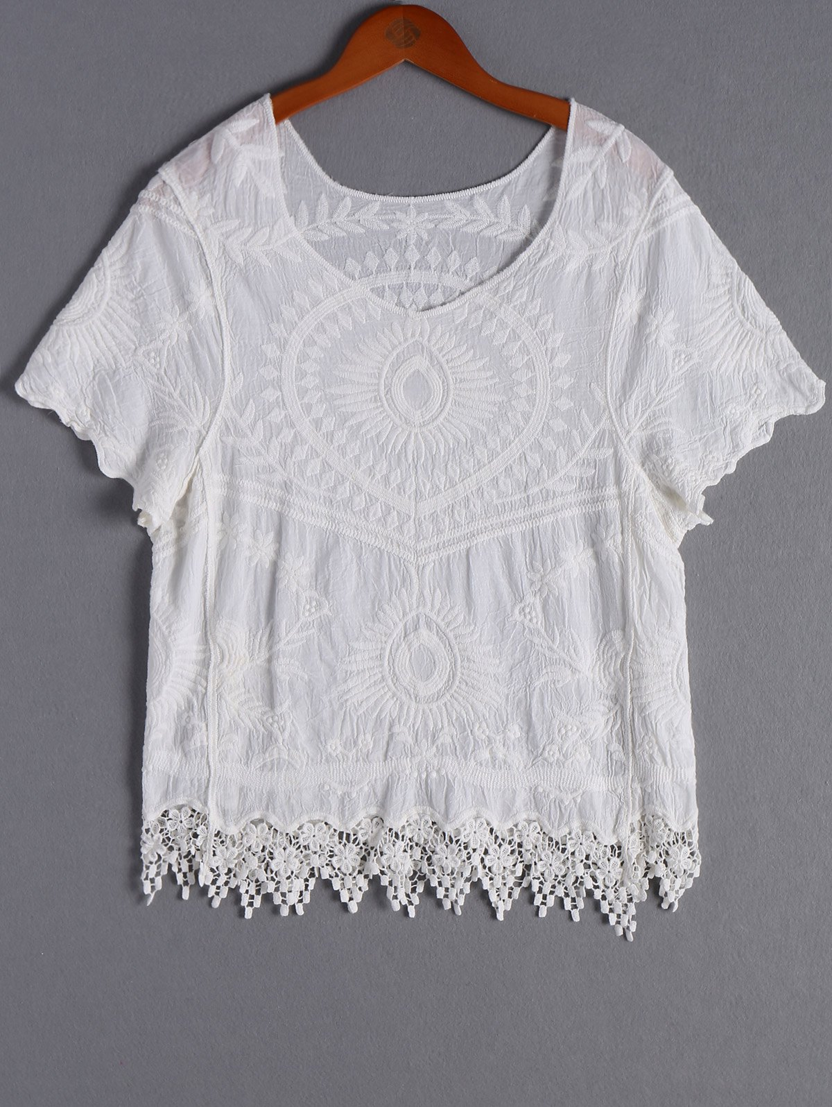 Casual Women's V-Neck Lace Short Sleeves Blouse - WHITE ONE SIZE(FIT SIZE XS TO M)