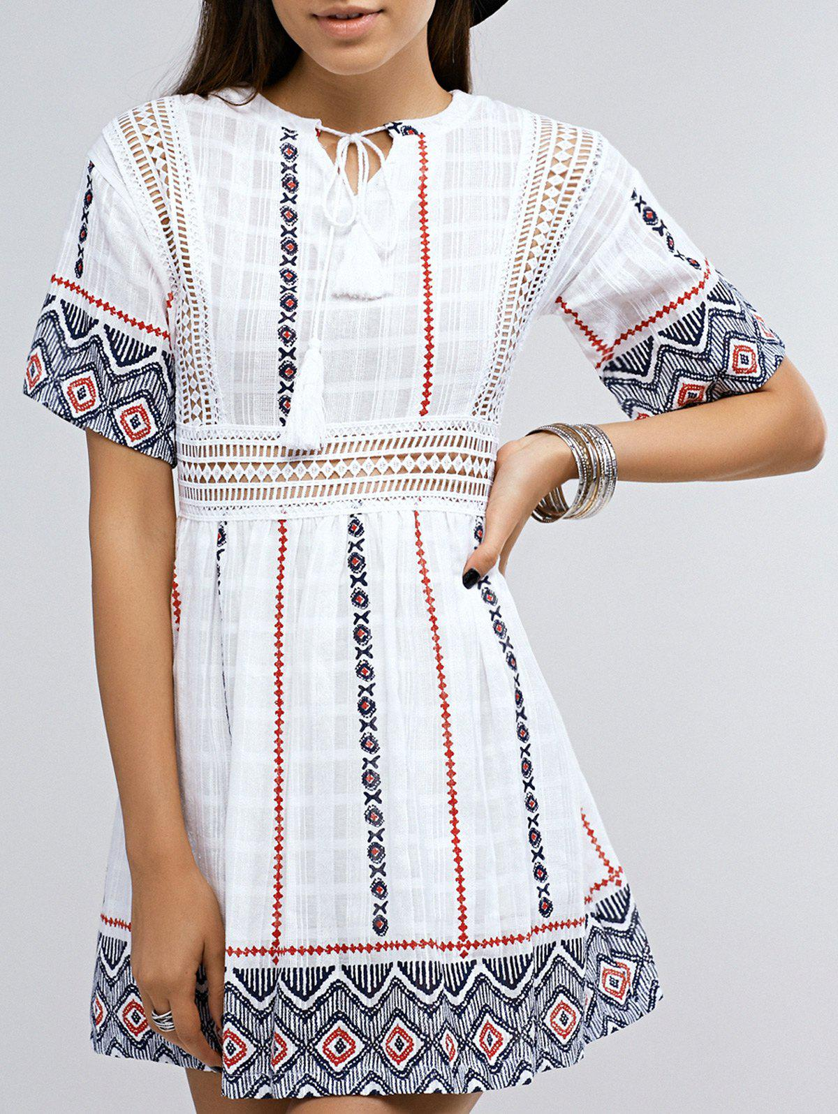 Ethnic Style Short Sleeve Printed Tassel Dress For Women - WHITE ONE SIZE(FIT SIZE XS TO M)