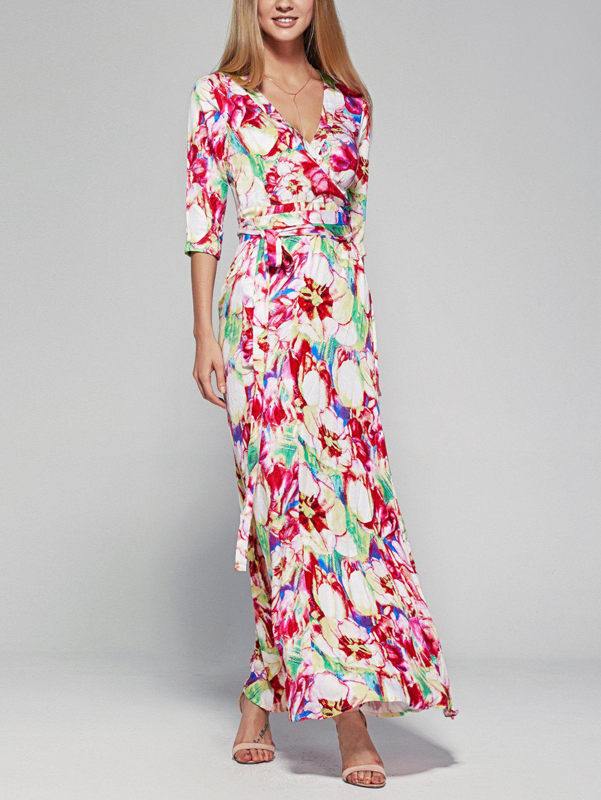 3/4 Sleeve Plunging Neck Floral Women's Wrap Dress